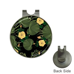Tropical Vintage Yellow Hibiscus Floral Green Leaves Seamless Pattern Black Background  Hat Clips With Golf Markers by Sobalvarro