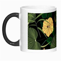 Tropical Vintage Yellow Hibiscus Floral Green Leaves Seamless Pattern Black Background  Morph Mugs by Sobalvarro