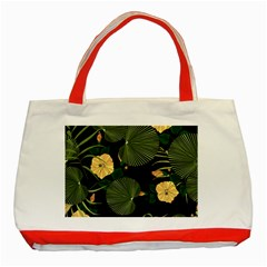 Tropical Vintage Yellow Hibiscus Floral Green Leaves Seamless Pattern Black Background  Classic Tote Bag (red) by Sobalvarro