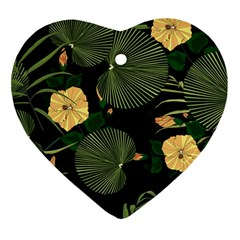 Tropical Vintage Yellow Hibiscus Floral Green Leaves Seamless Pattern Black Background  Heart Ornament (two Sides) by Sobalvarro