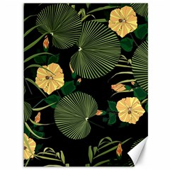 Tropical Vintage Yellow Hibiscus Floral Green Leaves Seamless Pattern Black Background  Canvas 36  X 48  by Sobalvarro