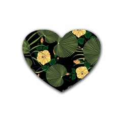 Tropical Vintage Yellow Hibiscus Floral Green Leaves Seamless Pattern Black Background  Rubber Coaster (heart)  by Sobalvarro