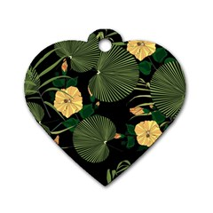 Tropical Vintage Yellow Hibiscus Floral Green Leaves Seamless Pattern Black Background  Dog Tag Heart (two Sides) by Sobalvarro