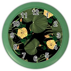 Tropical Vintage Yellow Hibiscus Floral Green Leaves Seamless Pattern Black Background  Color Wall Clock by Sobalvarro