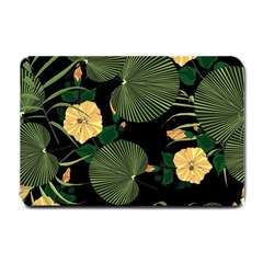 Tropical Vintage Yellow Hibiscus Floral Green Leaves Seamless Pattern Black Background  Small Doormat  by Sobalvarro
