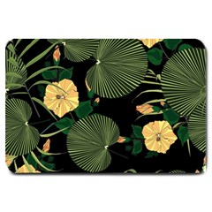 Tropical Vintage Yellow Hibiscus Floral Green Leaves Seamless Pattern Black Background  Large Doormat  by Sobalvarro