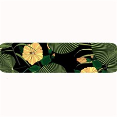 Tropical Vintage Yellow Hibiscus Floral Green Leaves Seamless Pattern Black Background  Large Bar Mats by Sobalvarro