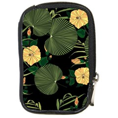Tropical Vintage Yellow Hibiscus Floral Green Leaves Seamless Pattern Black Background  Compact Camera Leather Case by Sobalvarro