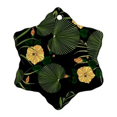 Tropical Vintage Yellow Hibiscus Floral Green Leaves Seamless Pattern Black Background  Snowflake Ornament (two Sides) by Sobalvarro