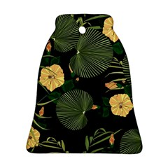 Tropical Vintage Yellow Hibiscus Floral Green Leaves Seamless Pattern Black Background  Bell Ornament (two Sides) by Sobalvarro