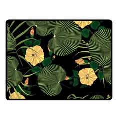 Tropical Vintage Yellow Hibiscus Floral Green Leaves Seamless Pattern Black Background  Double Sided Fleece Blanket (small)  by Sobalvarro