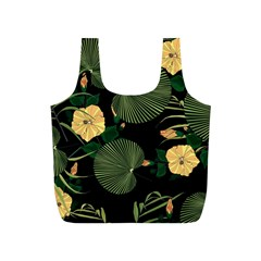 Tropical Vintage Yellow Hibiscus Floral Green Leaves Seamless Pattern Black Background  Full Print Recycle Bag (s) by Sobalvarro