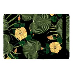 Tropical Vintage Yellow Hibiscus Floral Green Leaves Seamless Pattern Black Background  Apple Ipad Pro 10 5   Flip Case by Sobalvarro