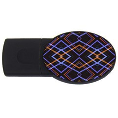 Intersecting Diamonds Motif Print Pattern Usb Flash Drive Oval (4 Gb) by dflcprintsclothing