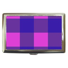 Blue And Pink Buffalo Plaid Check Squares Pattern Cigarette Money Case