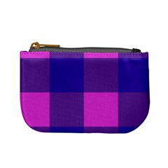 Blue And Pink Buffalo Plaid Check Squares Pattern Mini Coin Purse