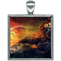Tiger King In A Fantastic Landscape From Fonebook Square Necklace