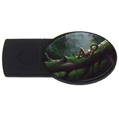 Wooden Child Resting On A Tree From Fonebook Usb Flash Drive Oval (4 Gb)