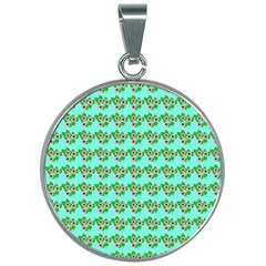 Flowers Pattern 30mm Round Necklace by Sparkle