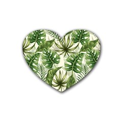Tropical Leaves Rubber Coaster (heart)