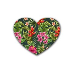 Tropic Flowers Rubber Coaster (heart)