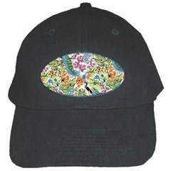 Flowers And Peacock Black Cap by goljakoff