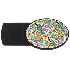 Flowers And Peacock Usb Flash Drive Oval (4 Gb)