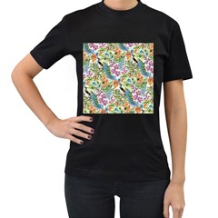 Flowers And Peacock Women s T-shirt (black) by goljakoff