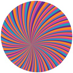 Psychedelic Groovy Pattern 2 Wooden Puzzle Round by designsbymallika