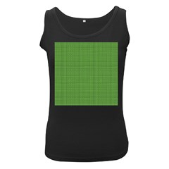 Green Knitted Pattern Women s Black Tank Top by goljakoff