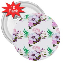 Floral Art 3  Buttons (10 Pack)  by Sparkle