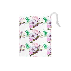Floral Art Drawstring Pouch (small) by Sparkle