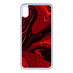 Red Vivid Marble Pattern 15 Iphone Xs Max Seamless Case (white) by goljakoff