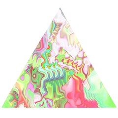 Boho Hippie Trippy Psychedelic Abstract Hot Pink Lime Green Wooden Puzzle Triangle by CrypticFragmentsDesign