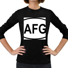 Afghanistan Afg Oval Sticker Women s Long Sleeve Dark T-shirt