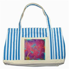 Magenta On Blue Feathers Striped Blue Tote Bag