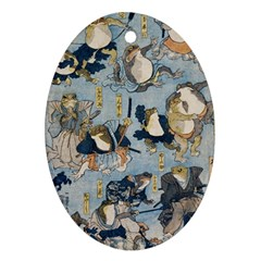 Famous Heroes Of The Kabuki Stage Played By Frogs  Ornament (oval) by Sobalvarro
