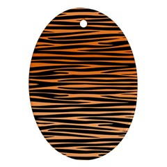 Tiger Stripes, Black And Orange, Asymmetric Lines, Wildlife Pattern Ornament (oval)