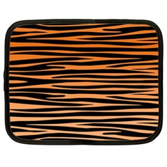 Tiger Stripes, Black And Orange, Asymmetric Lines, Wildlife Pattern Netbook Case (xl)