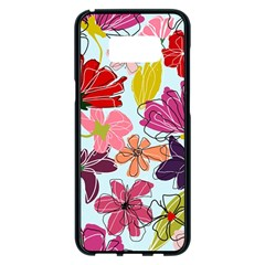 Flower Pattern Samsung Galaxy S8 Plus Black Seamless Case