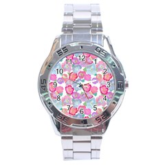 Bright, Joyful Flowers Stainless Steel Analogue Watch
