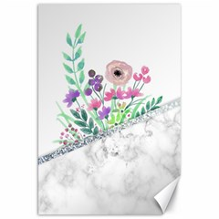 Minimal Silver Floral Marble A Canvas 20  X 30