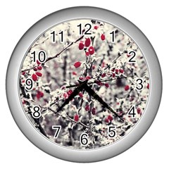 Berries In Winter, Fruits In Vintage Style Photography Wall Clock (silver)