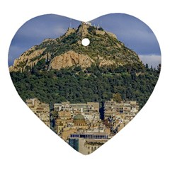 Atenas Aerial View Cityscape Photo Heart Ornament (two Sides)