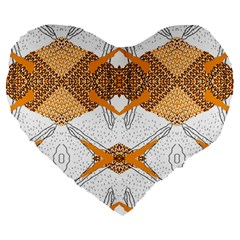 Abstract African Pattern Large 19  Premium Flano Heart Shape Cushions