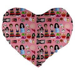 Drawing Collage Pink Large 19  Premium Flano Heart Shape Cushions