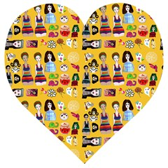 Drawing Collage Yellow Wooden Puzzle Heart