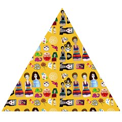 Drawing Collage Yellow Wooden Puzzle Triangle