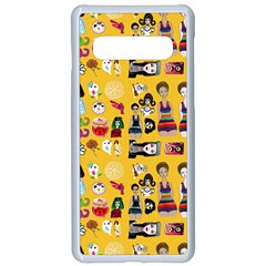 Drawing Collage Yellow Samsung Galaxy S10 Seamless Case(white)