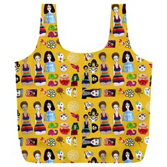 Drawing Collage Yellow Full Print Recycle Bag (xxl)